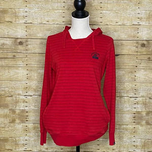 NIKE RED & BLACK ATHLETIC DEPT. HOODED PULLOVER SWEAT SHIRT SEMI FITTED SIZE XL